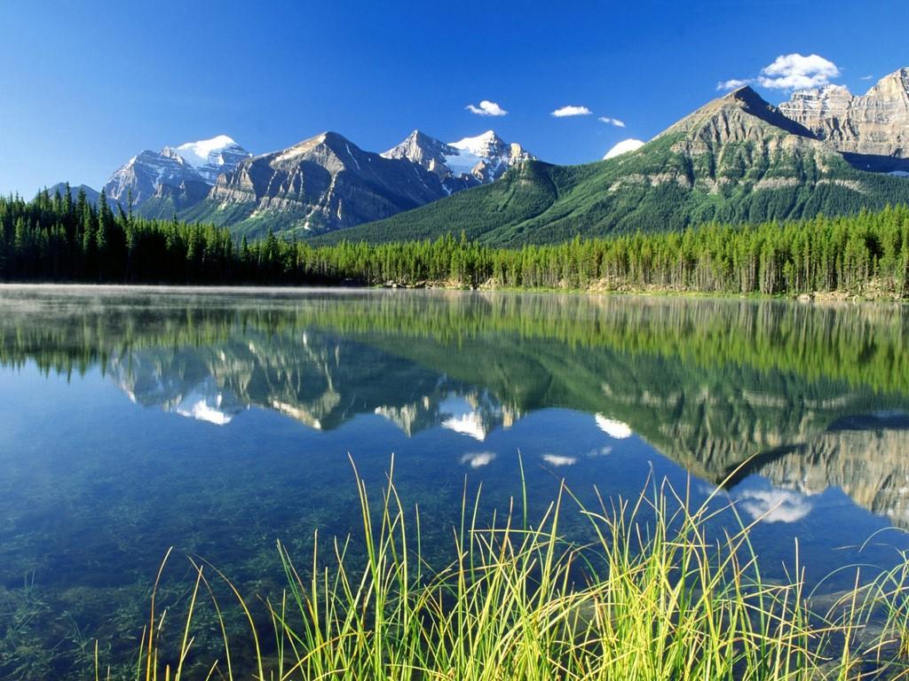Herbert Lake And Bow Range Canadian Rockies Wallpaper #113691 - Resolution 1024x768 px