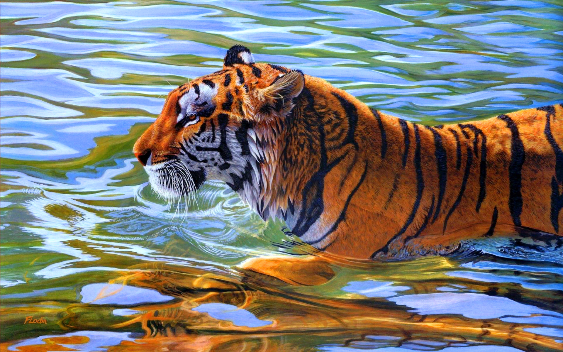tiger in water 1 wallpaper | 1920x1200 | #14445