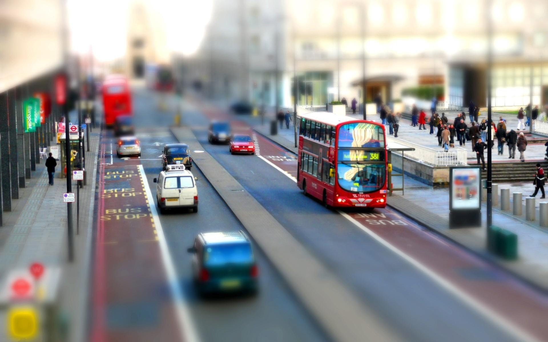 Londonstreet Double-decker bus TiltShift Wallpaper-1920x1200