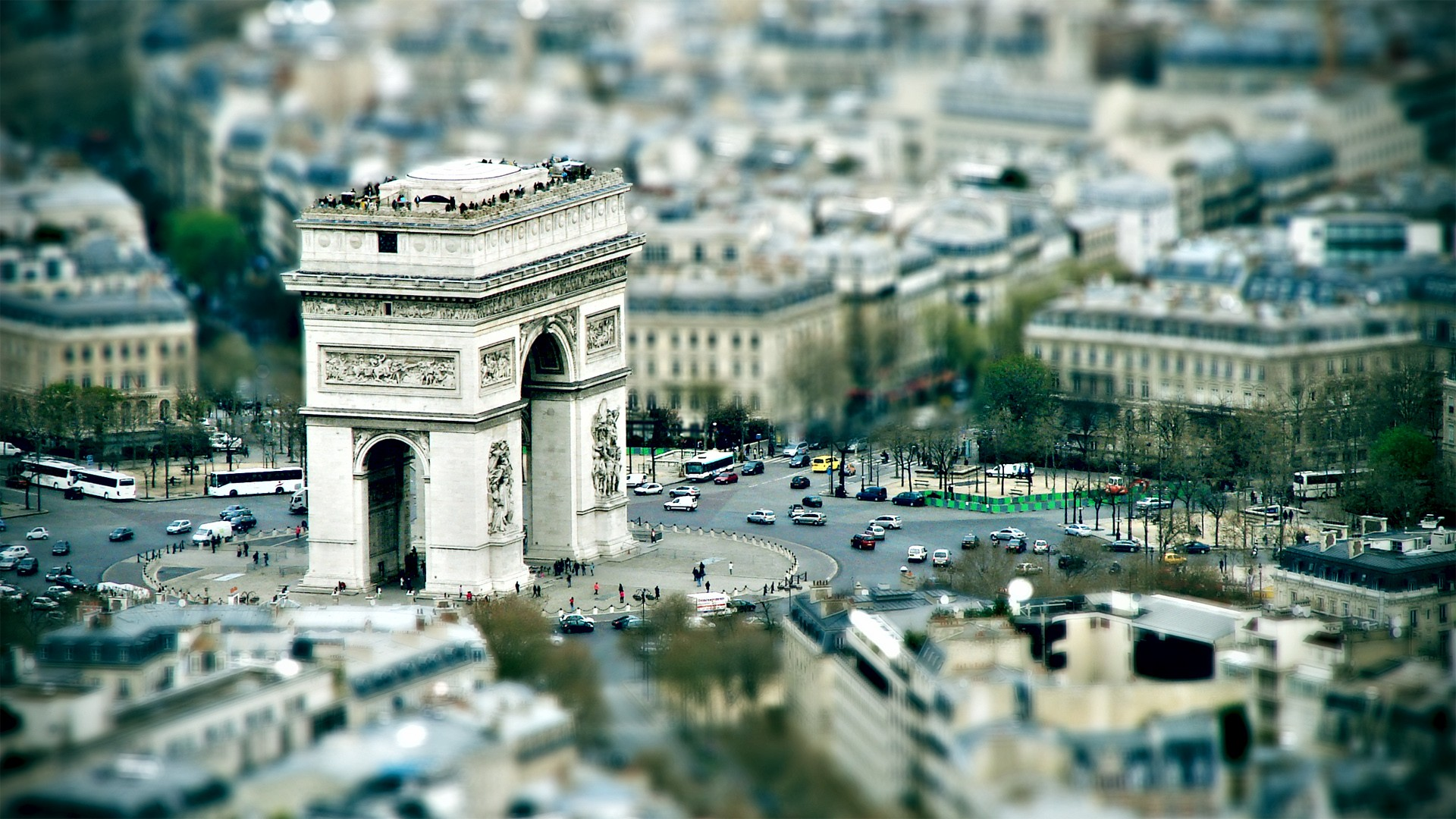 arc de triomphe paris tilt shift city photo wide hd wallpaper is a lovely background.