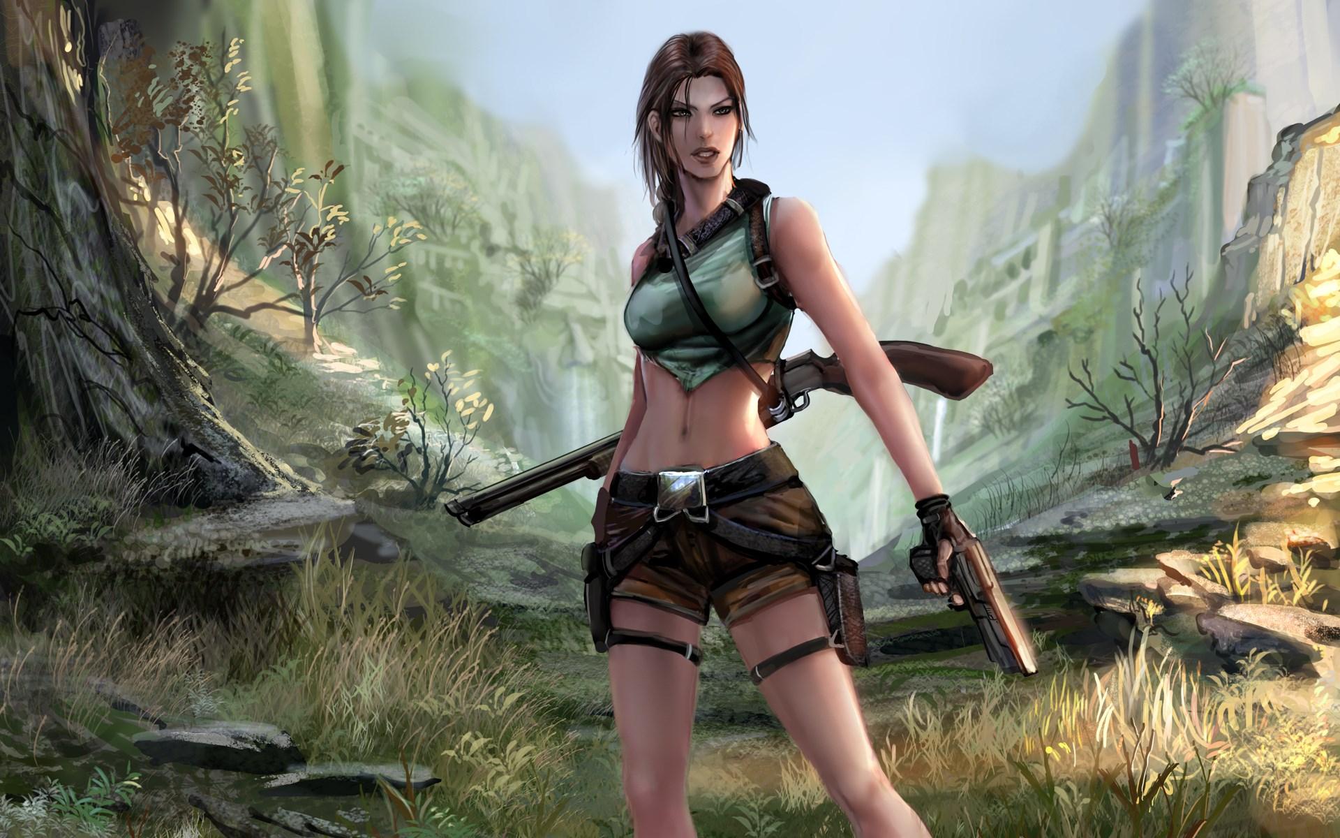 Tomb Raider Lara Croft Girl Gun Shotgun Game