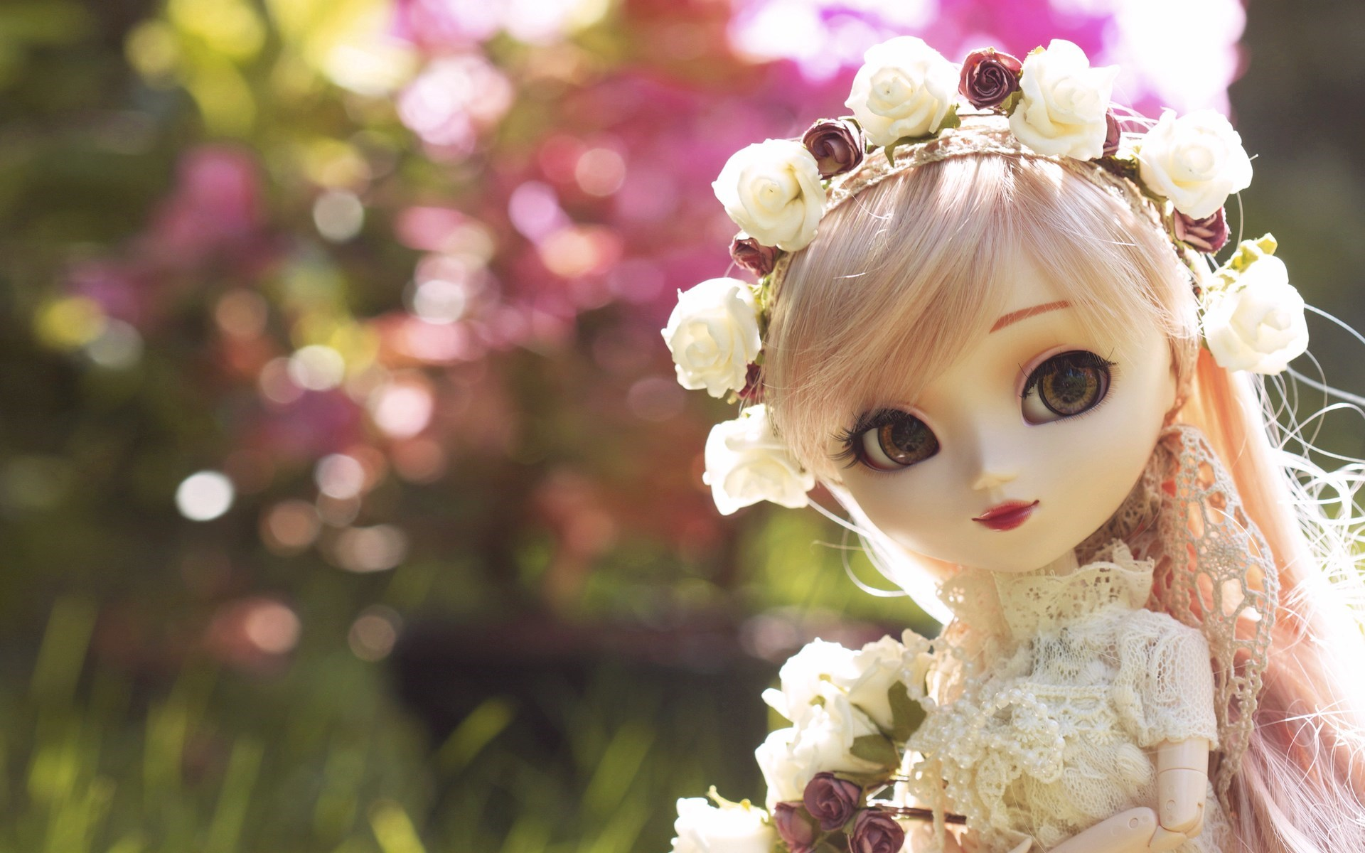 Toy Doll Flowers HD Wallpaper