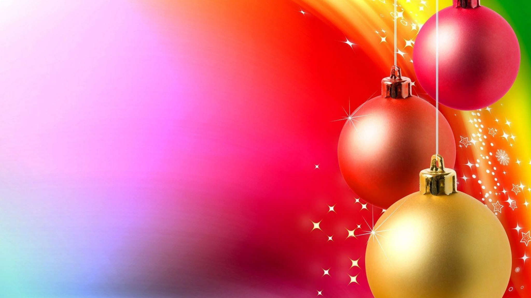 2048x1152 Wallpaper christmas toys, balls, yarn, background, colorful, positive