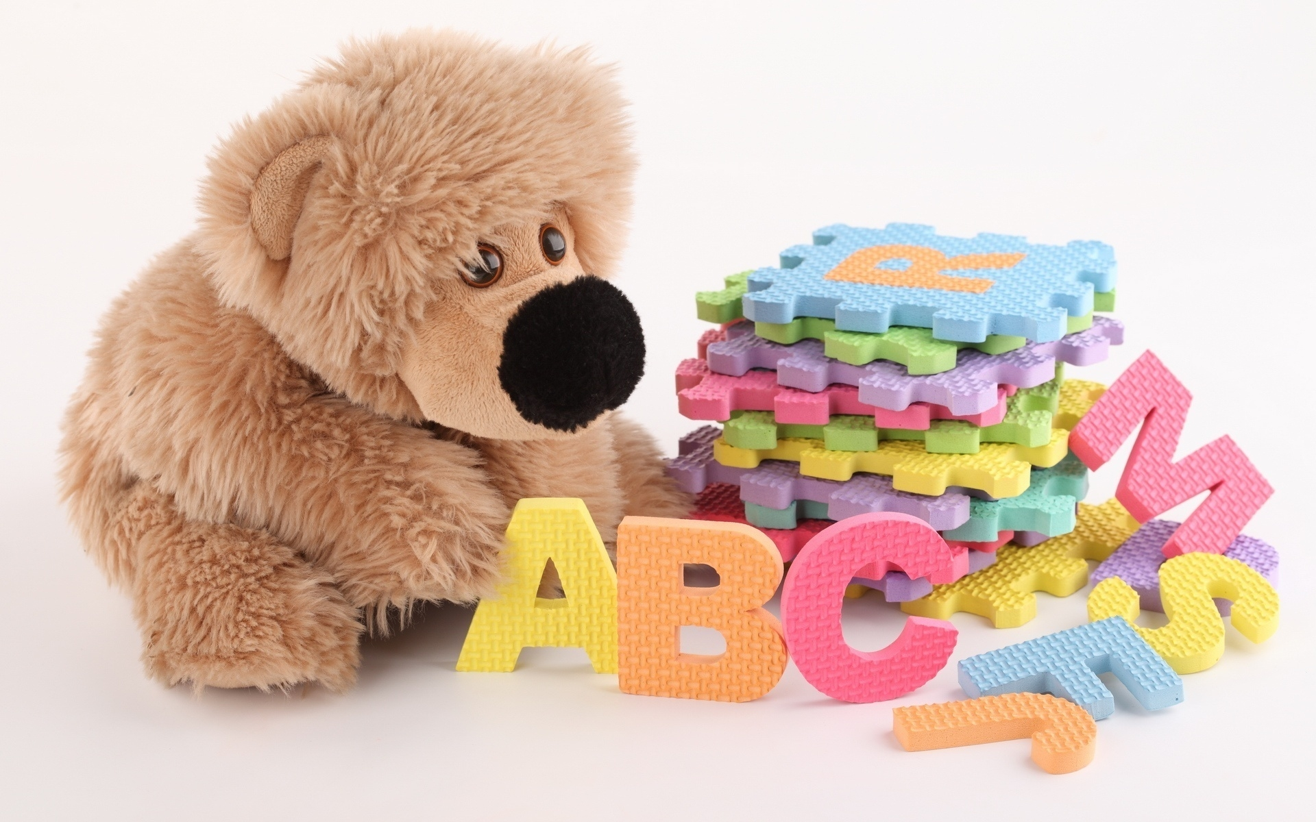 1920x1200 Wallpaper toys, letters, plush, colorful, development