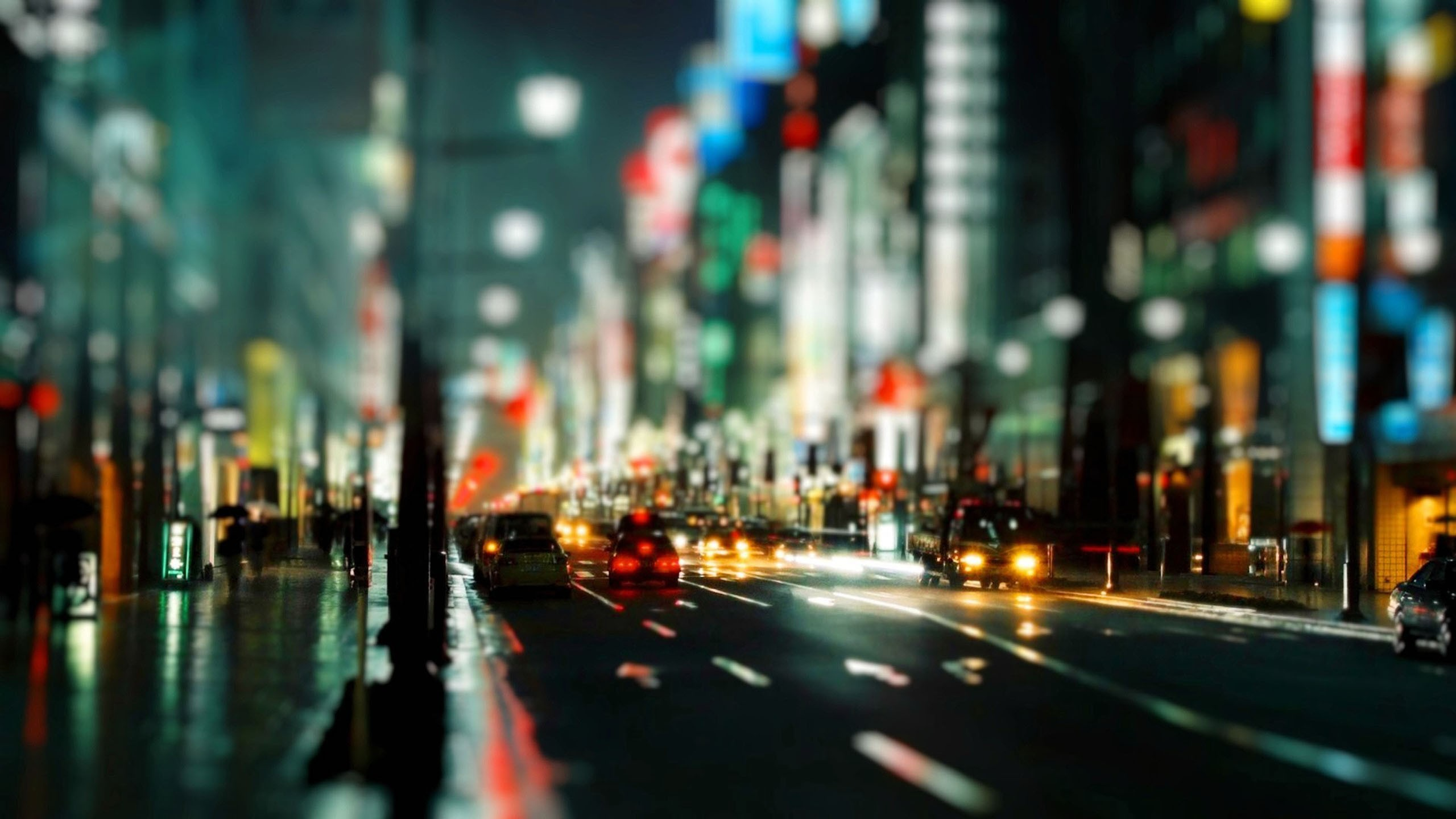 Download Wallpaper cityscapes streets night traffic bokeh city lights tilt shift -183-32