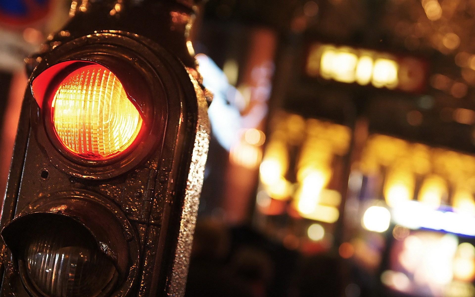 Traffic Lights Night City Close-Up Photo