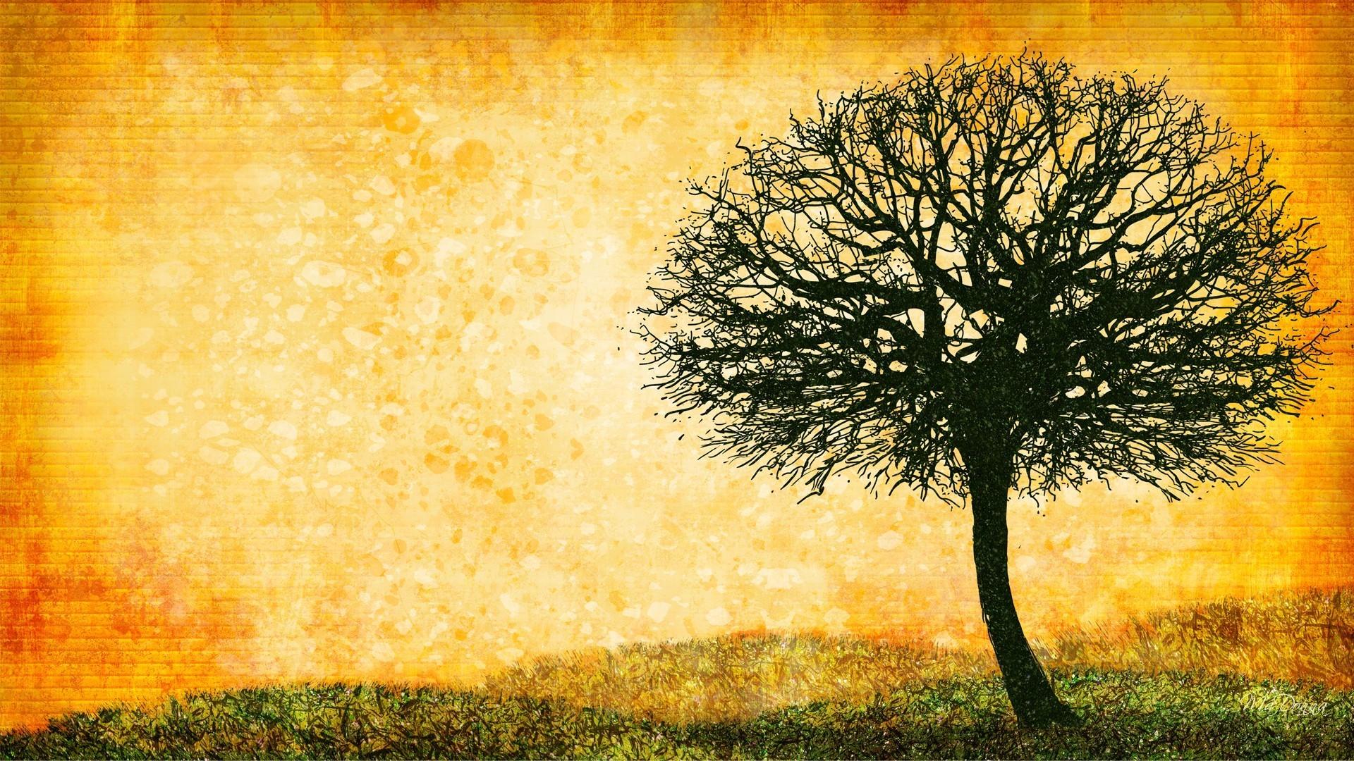 Trees digital art lone tree ocher ochre wallpaper
