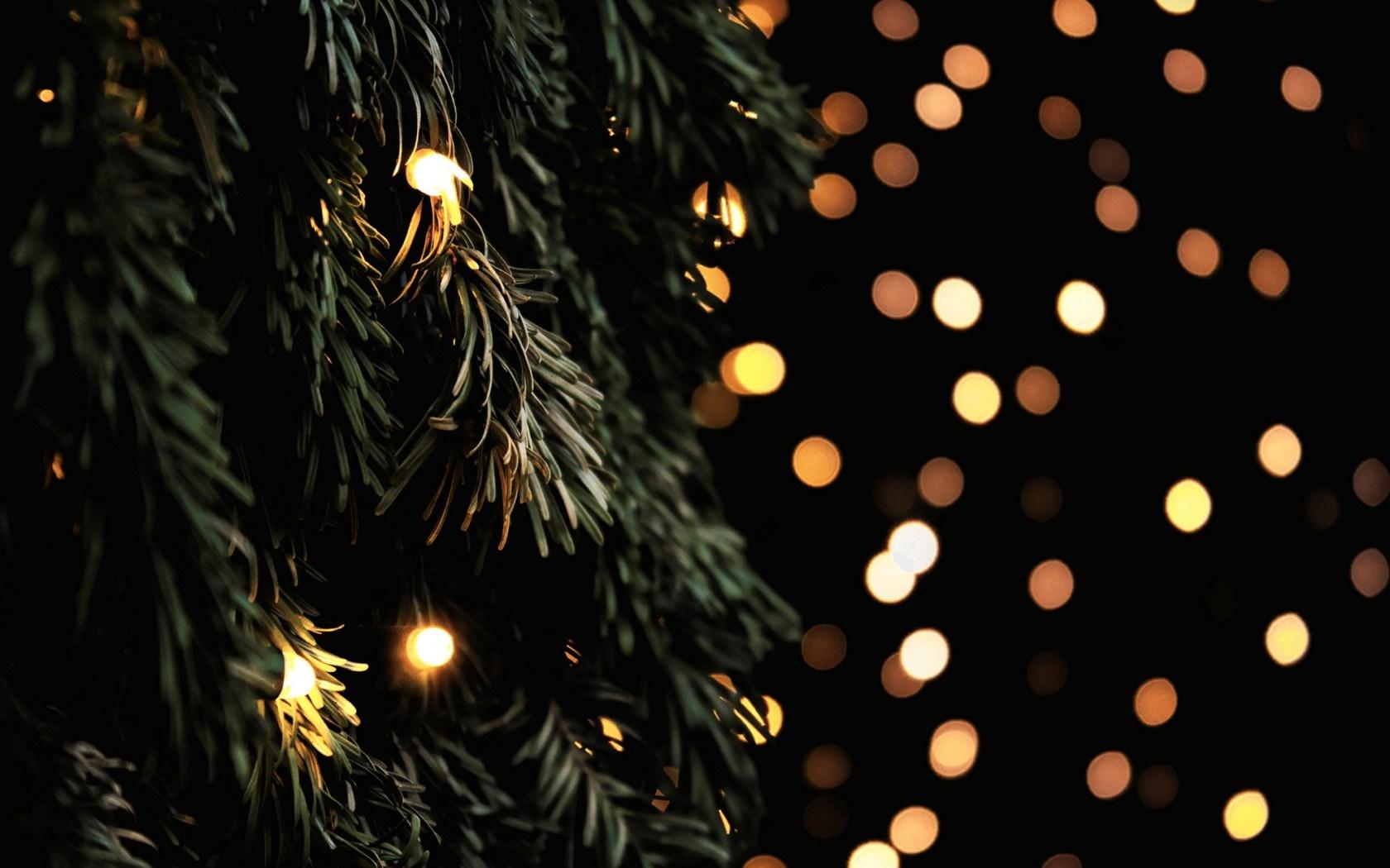 Tree Fir Branches Garland Lights New Year