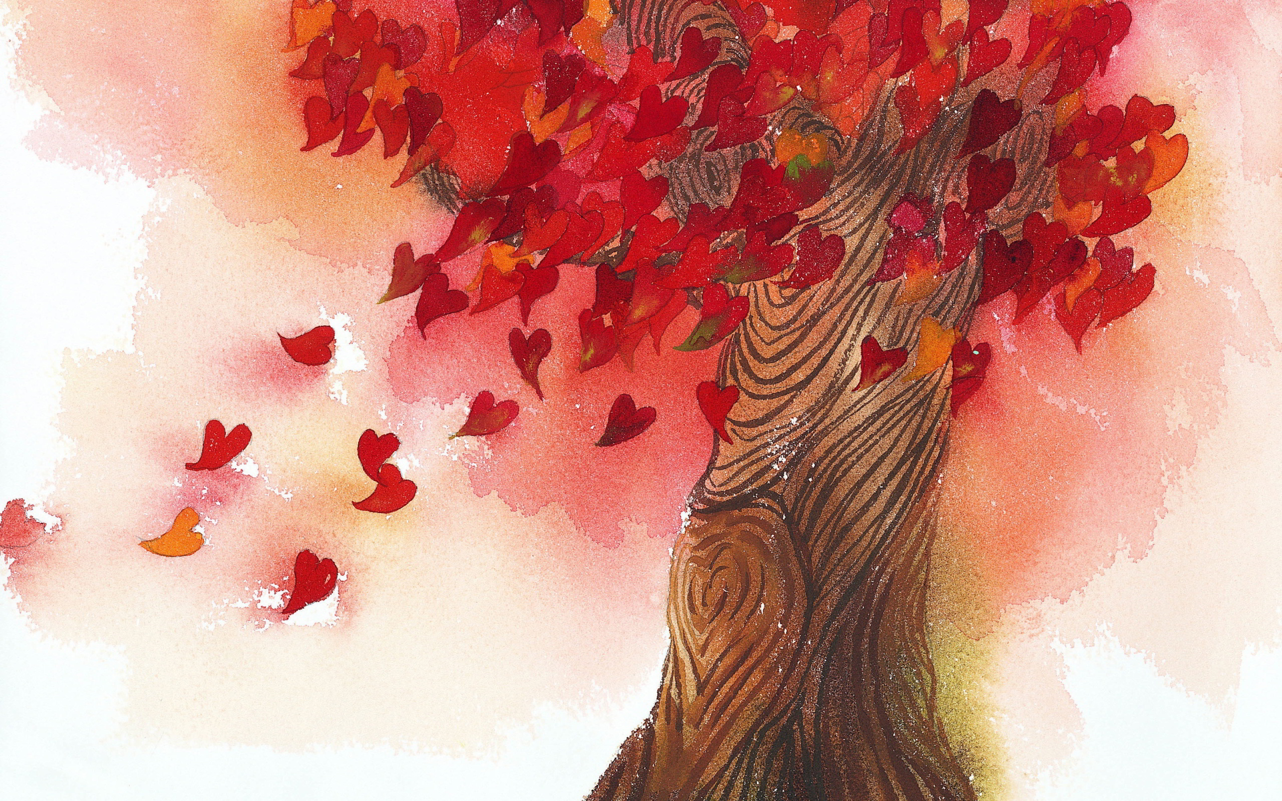 Tree heart leaves painting