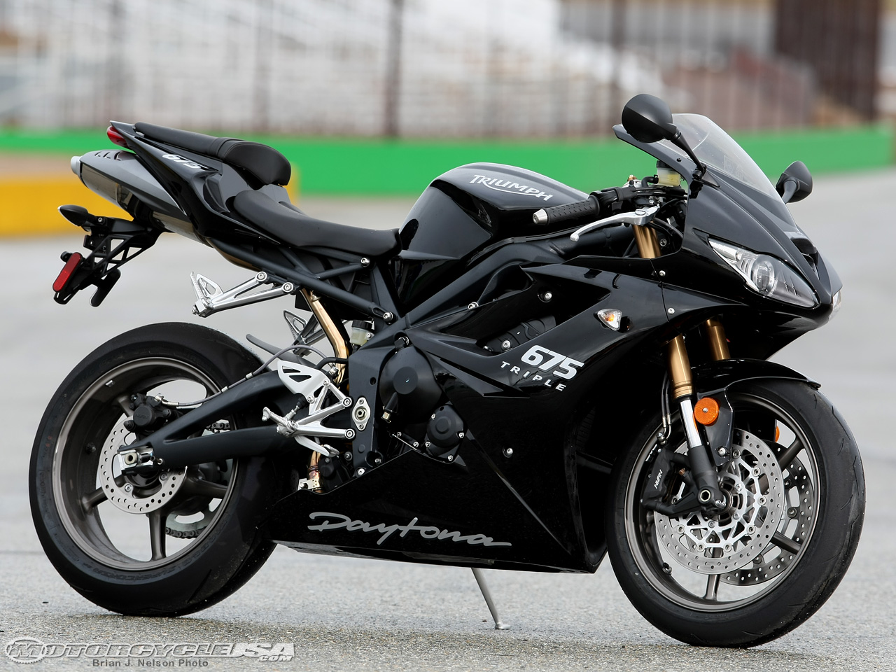 Triumph Daytona 675. MSRP: $9,799. Horsepower: 108.51hp @ 12,100 rpm. Torque: 49.36 lbs.-ft. @ 10,400 rpm. Weight: 409.4 lbs w/fuel, 378.4 lbs w/o fuel