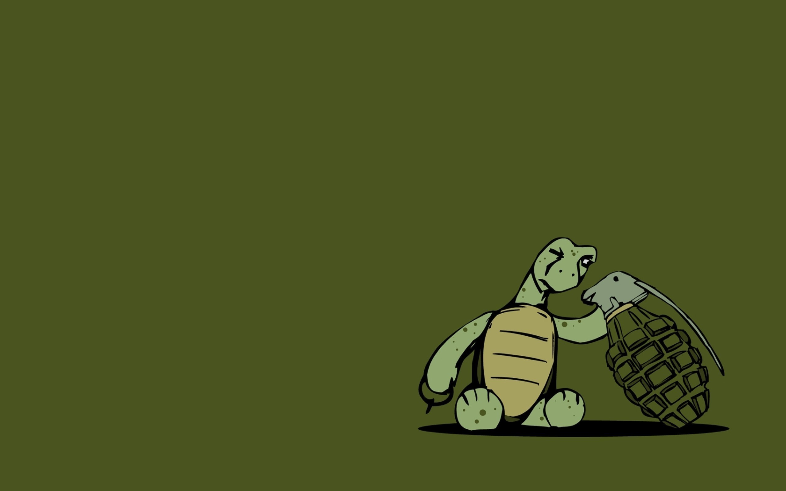Funny 3d Animal Turtle Wallpapers Hd: Turtle Grenade Art Funny Wallpaper