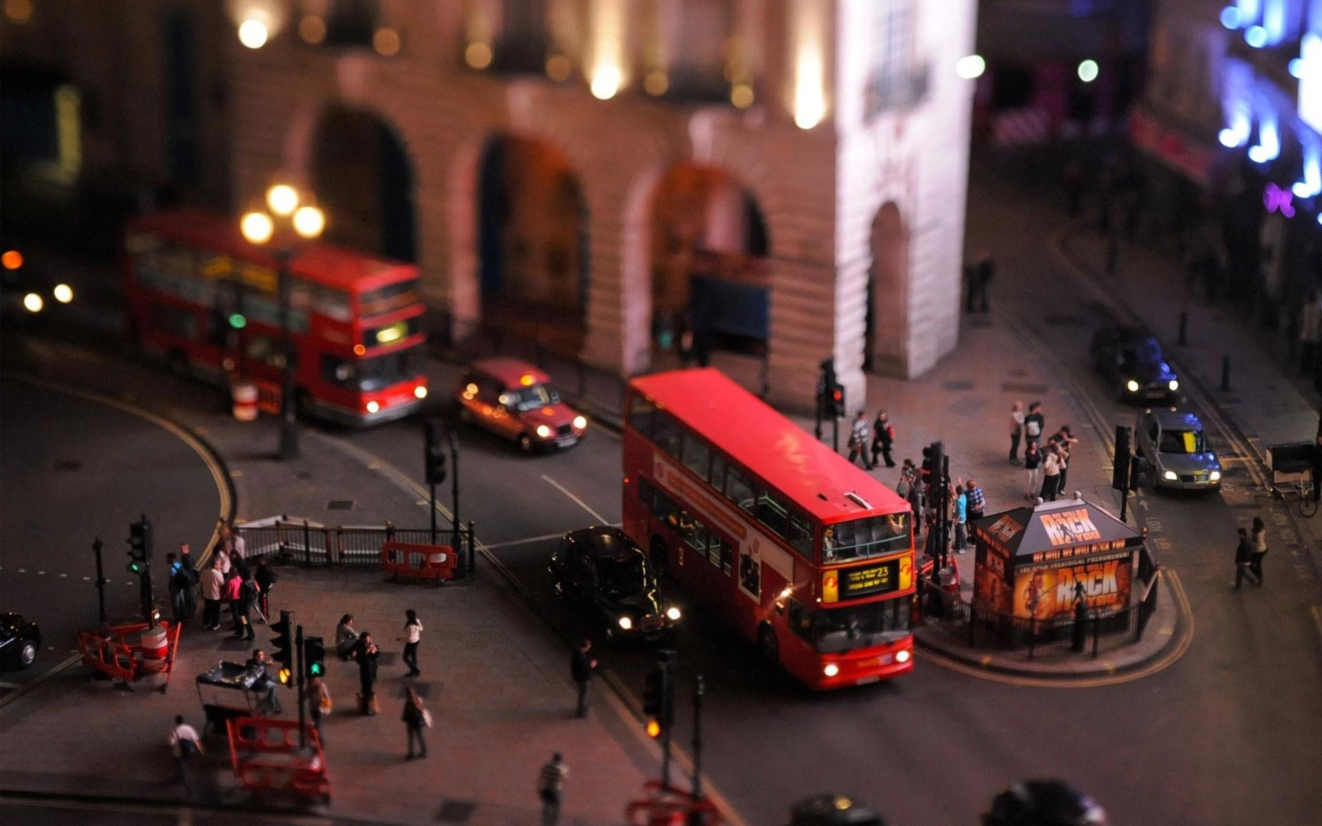 UK London Town Bus Tilt-Shift Photo