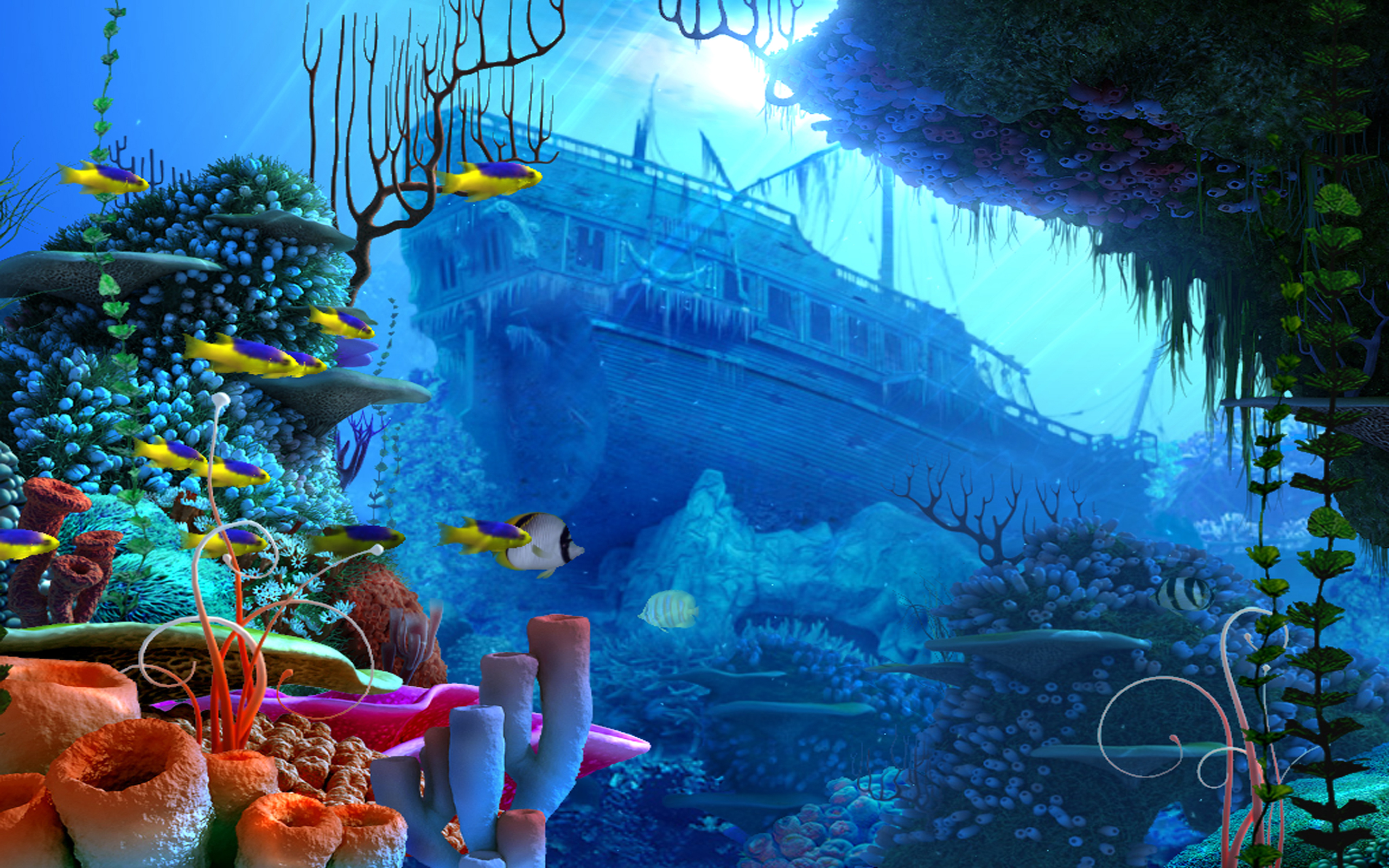 pirates pirate fantasy ship fish ocean underwater wallpaper