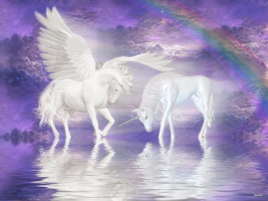 Unicorn and Pegasus Wallpaper - unicorns Wallpaper