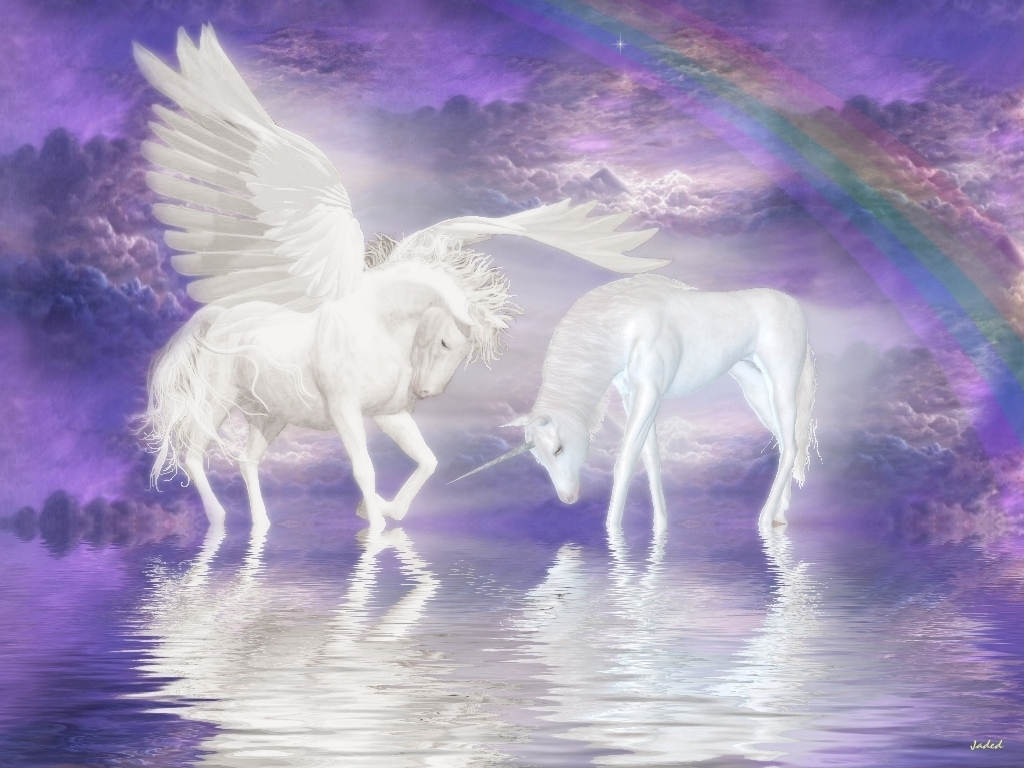 Unicorns Unicorn and Pegasus Wallpaper
