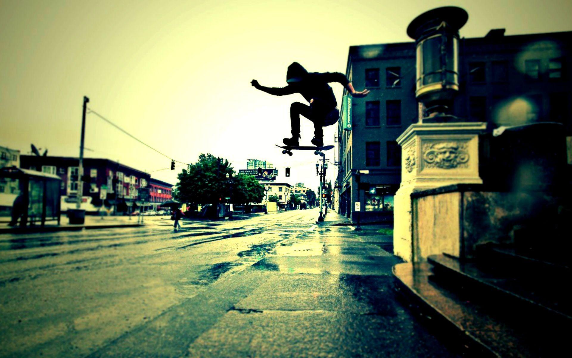Urban skateboard trick