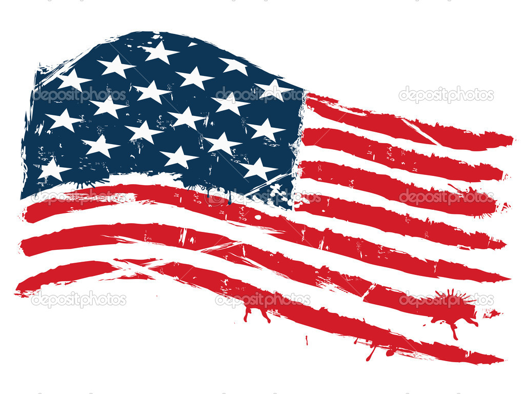Grunge background of curved usa flag — Vector by huhulin
