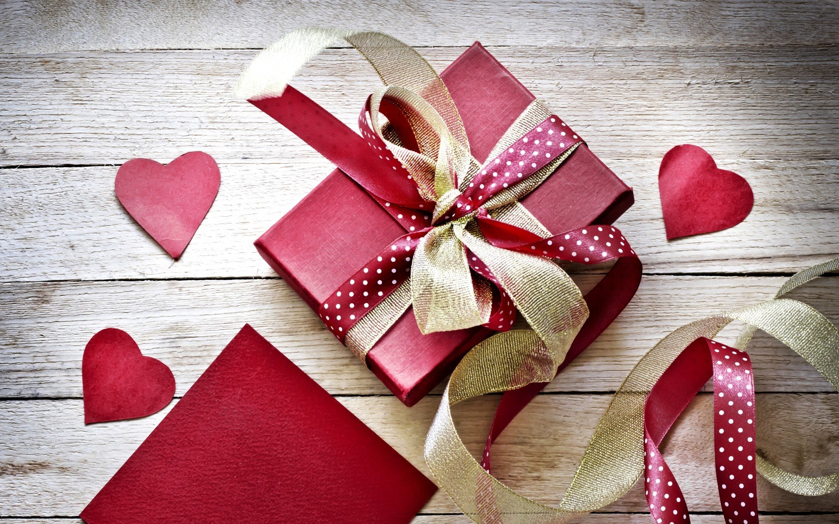 Valentines Day Gift Box Ribbon Hearts Love