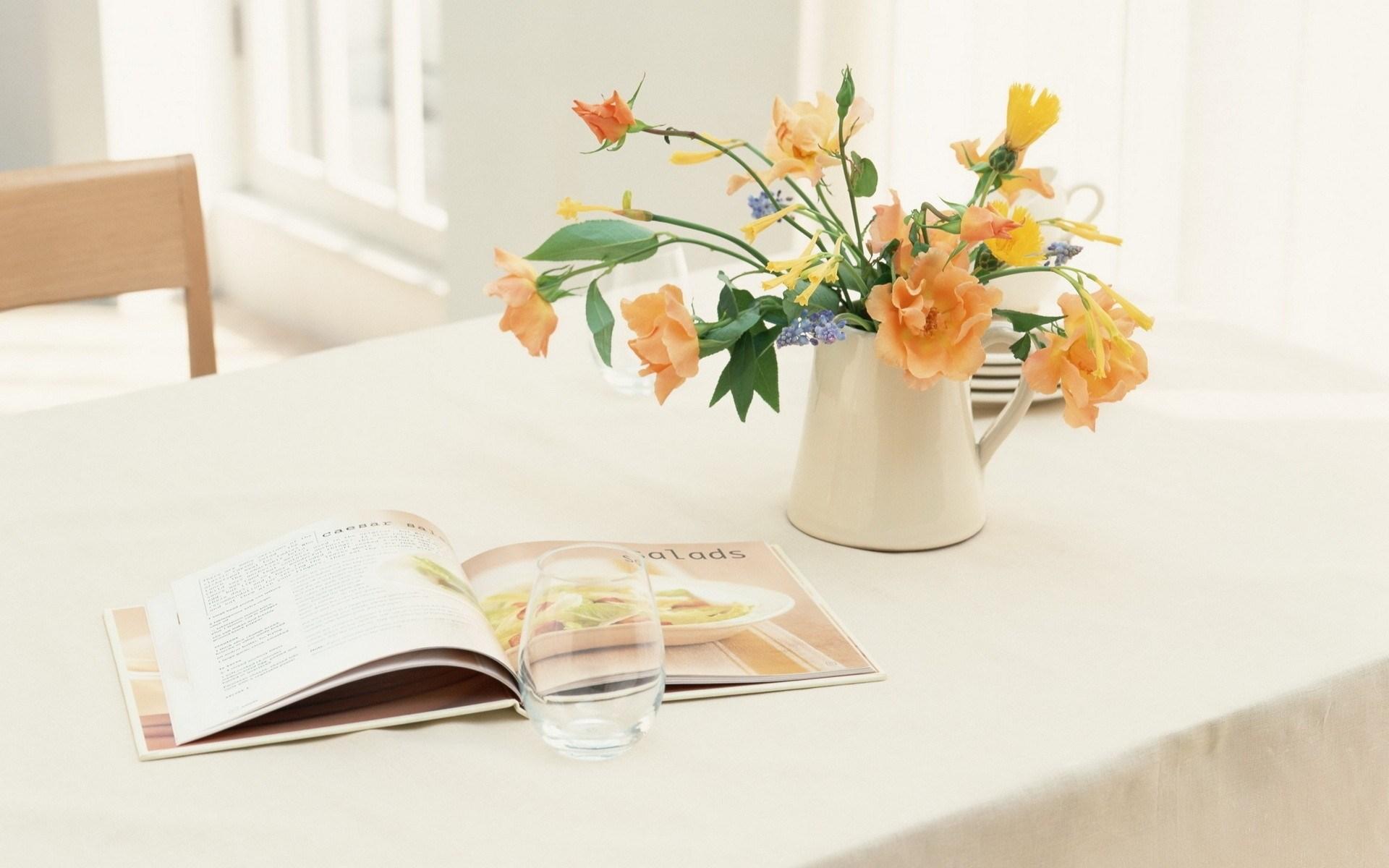 Vase Flowers Magazine HD Wallpaper