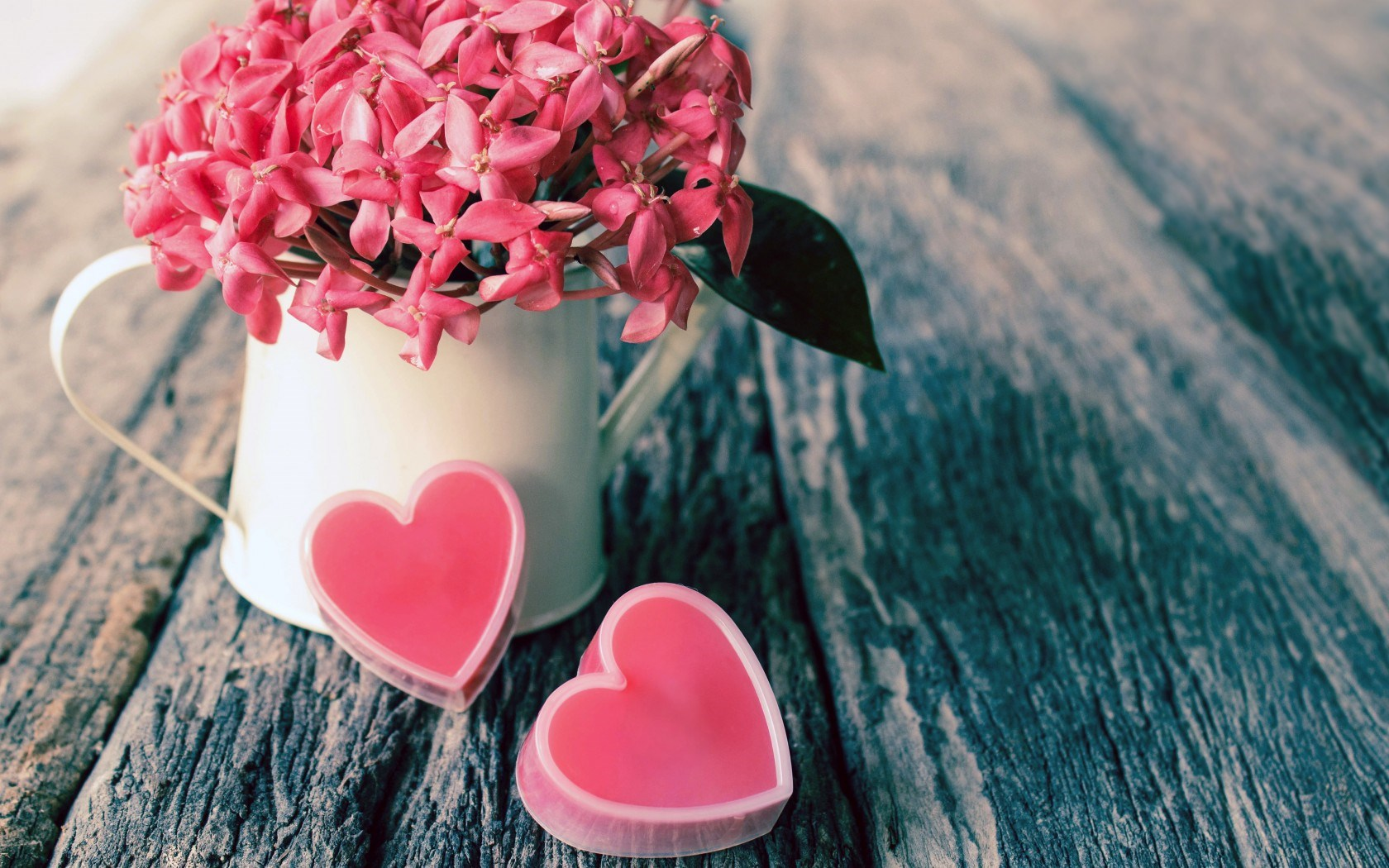 Vase Flowers Pink Hearts Love