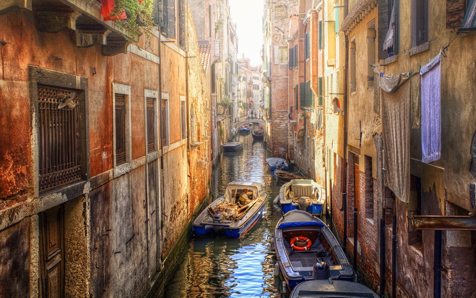 Venice boats buildings
