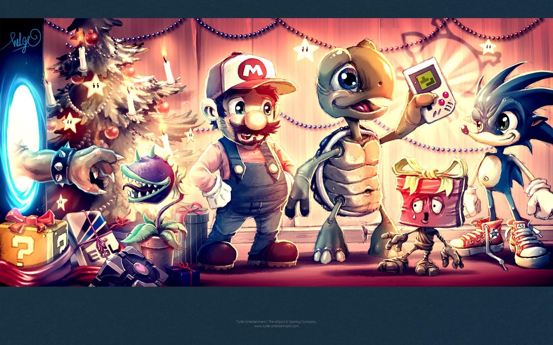 Video Games Portal Tetris Super Mario Companion Cube Christmas Bowser Plants vs Zombies Sonic Game Boy Art