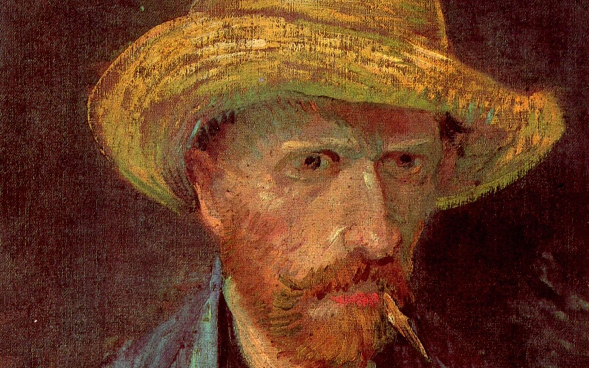 Self-Portrait With Straw Hat And Pipe Wallpaper, Vincent Van Gogh