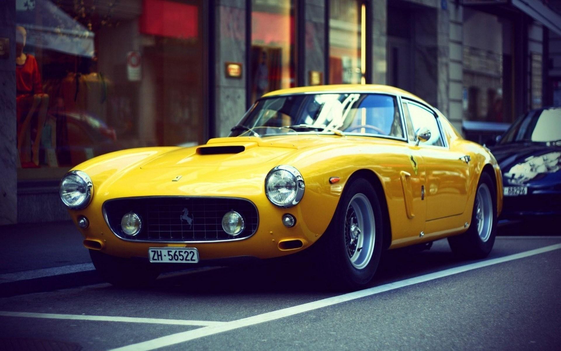 Vintage Yellow Ferrari Classic Car Switzerland Parking