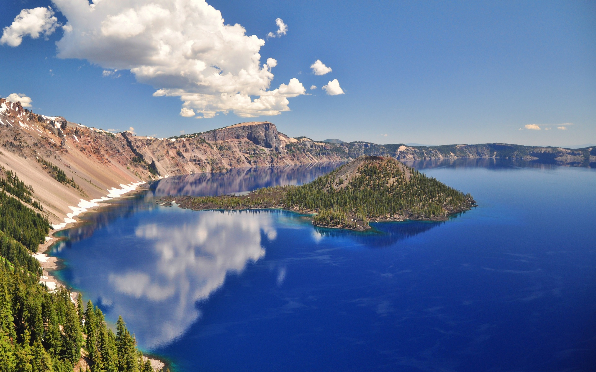 Volcanic crater lake wide