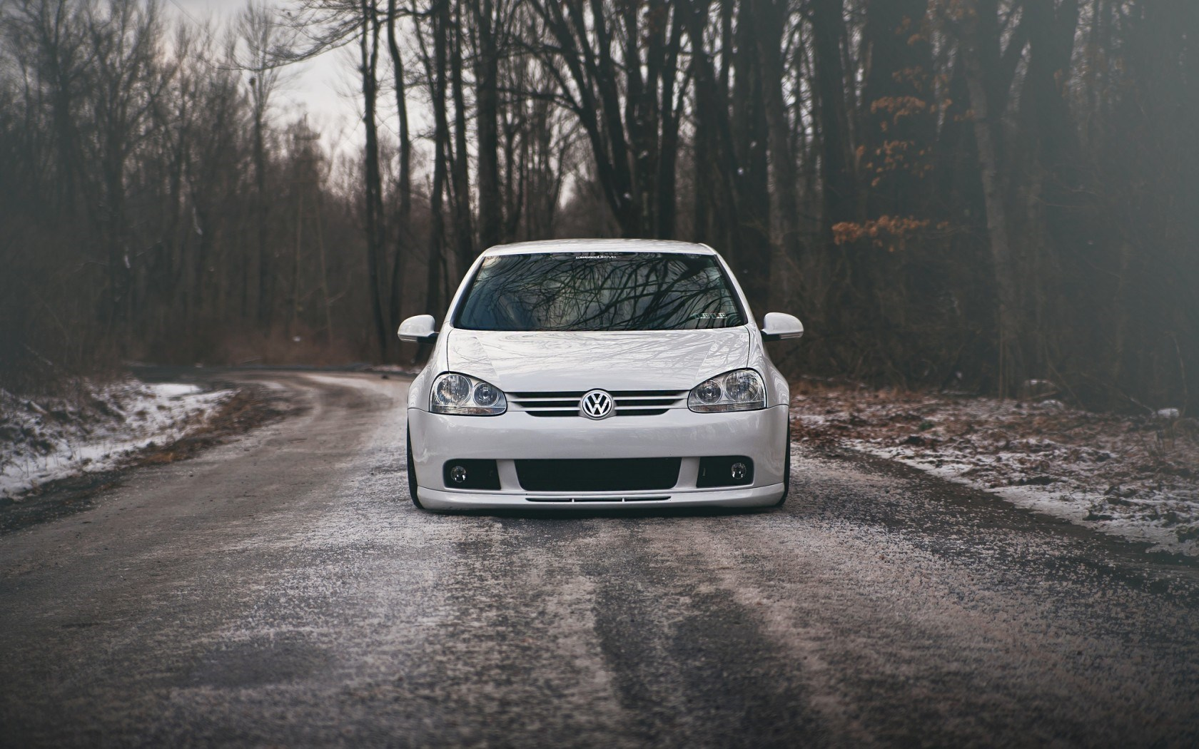 Volkswagen Golf GTI Car White Tuning Winter Snow