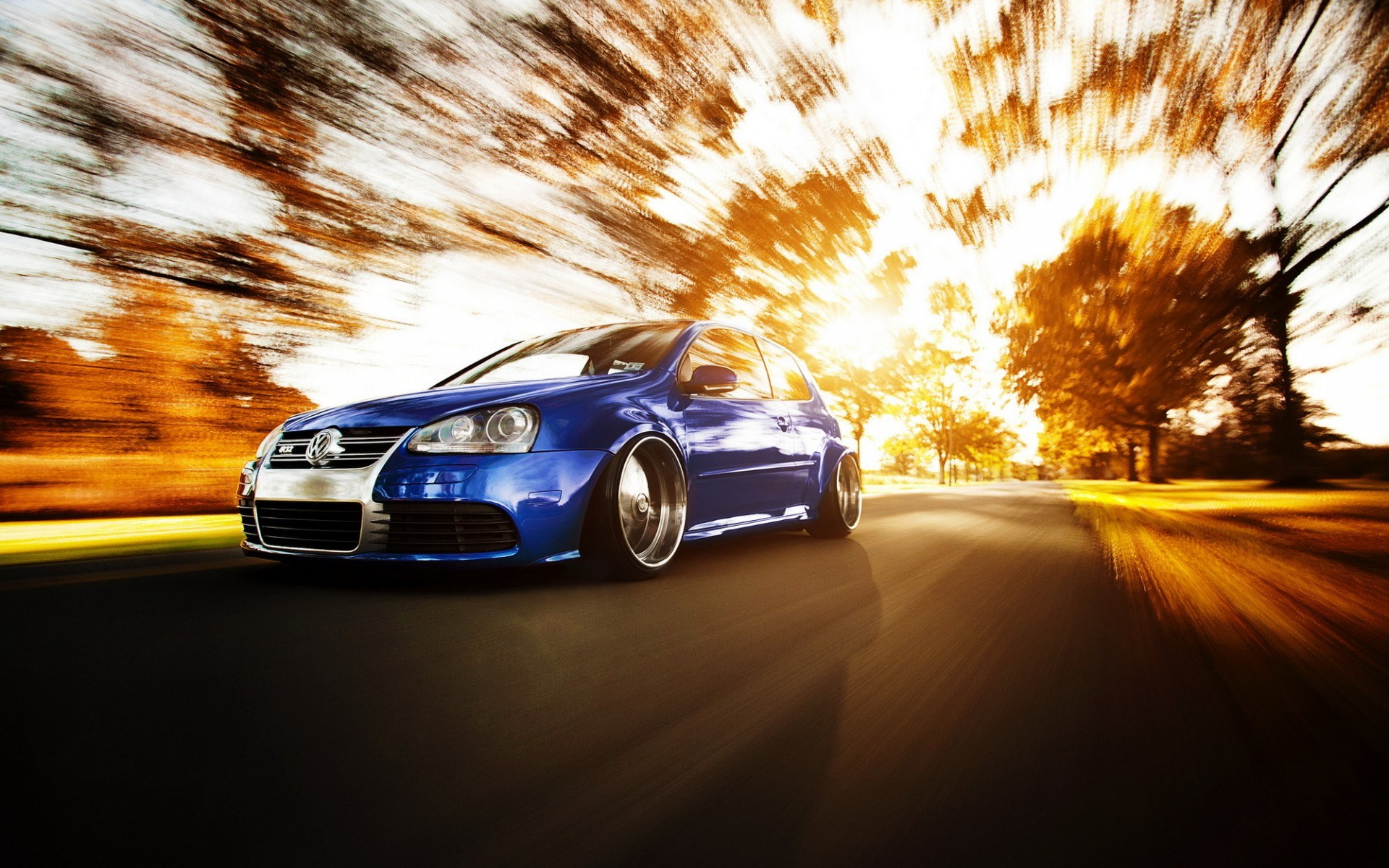VW Volkswagen Golf Road Tuning Car Fall