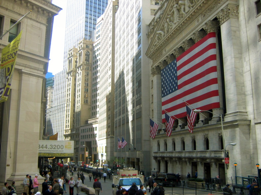 The New York Stock Exchange on Wall Street, the world's largest stock exchange per total market capitalization of its listed companies. [1]