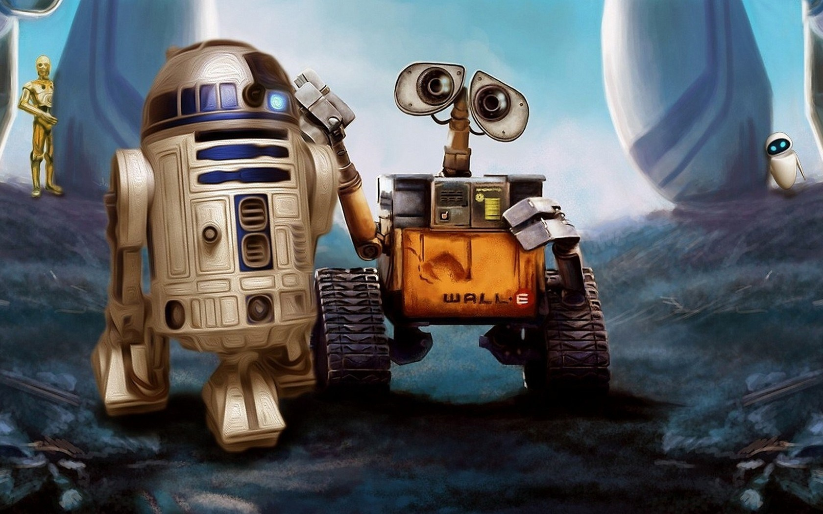 wall-e r2-d2 star wars robots cartoon art wallpaper | 1680x1050 | #9739