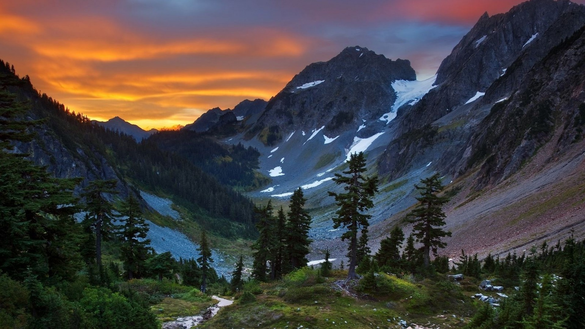 National park washington state blue clouds forests wallpaper