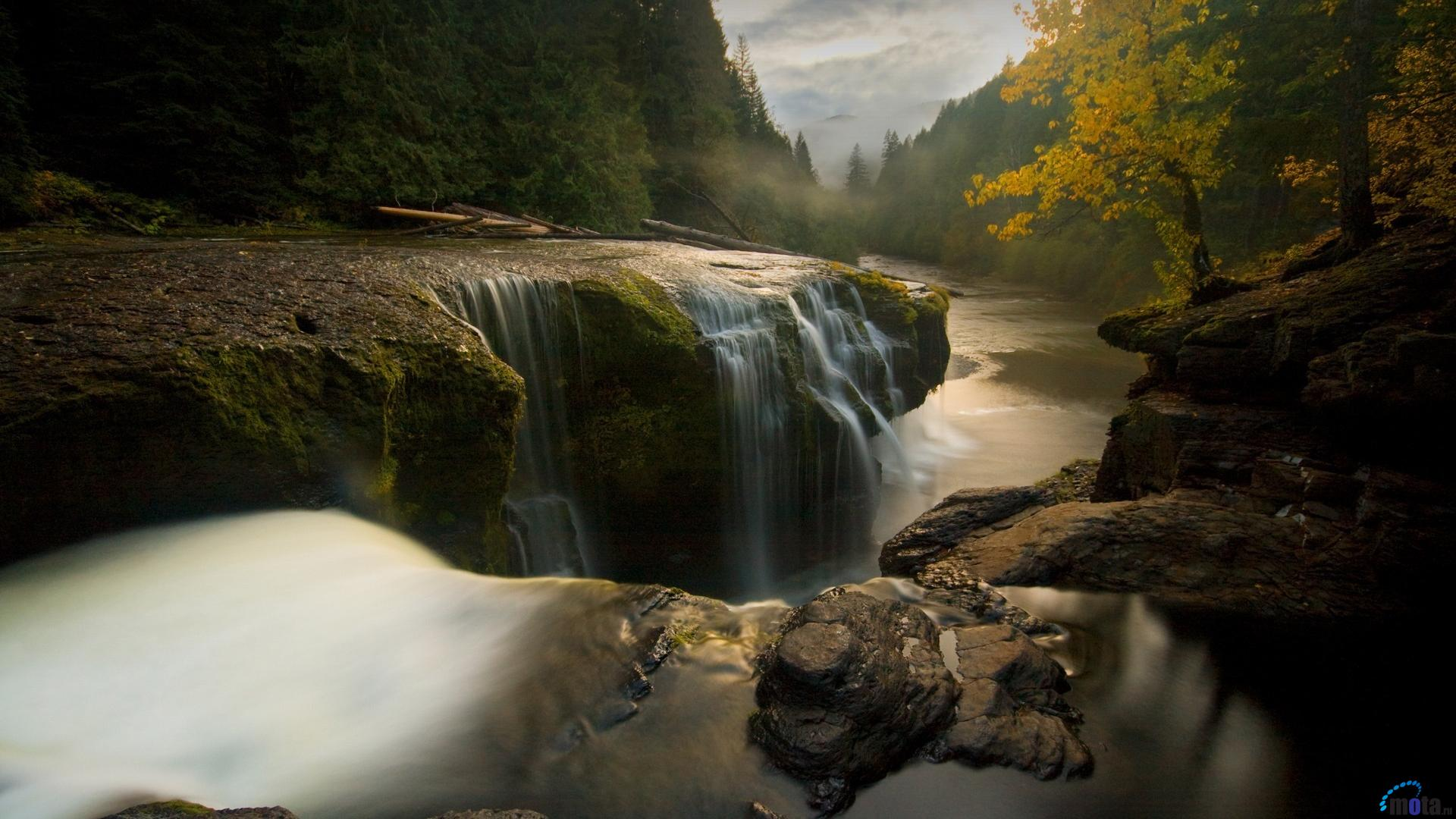 Desktop wallpapers Sun sets over Lower Lewis River Falls in Washington State.
