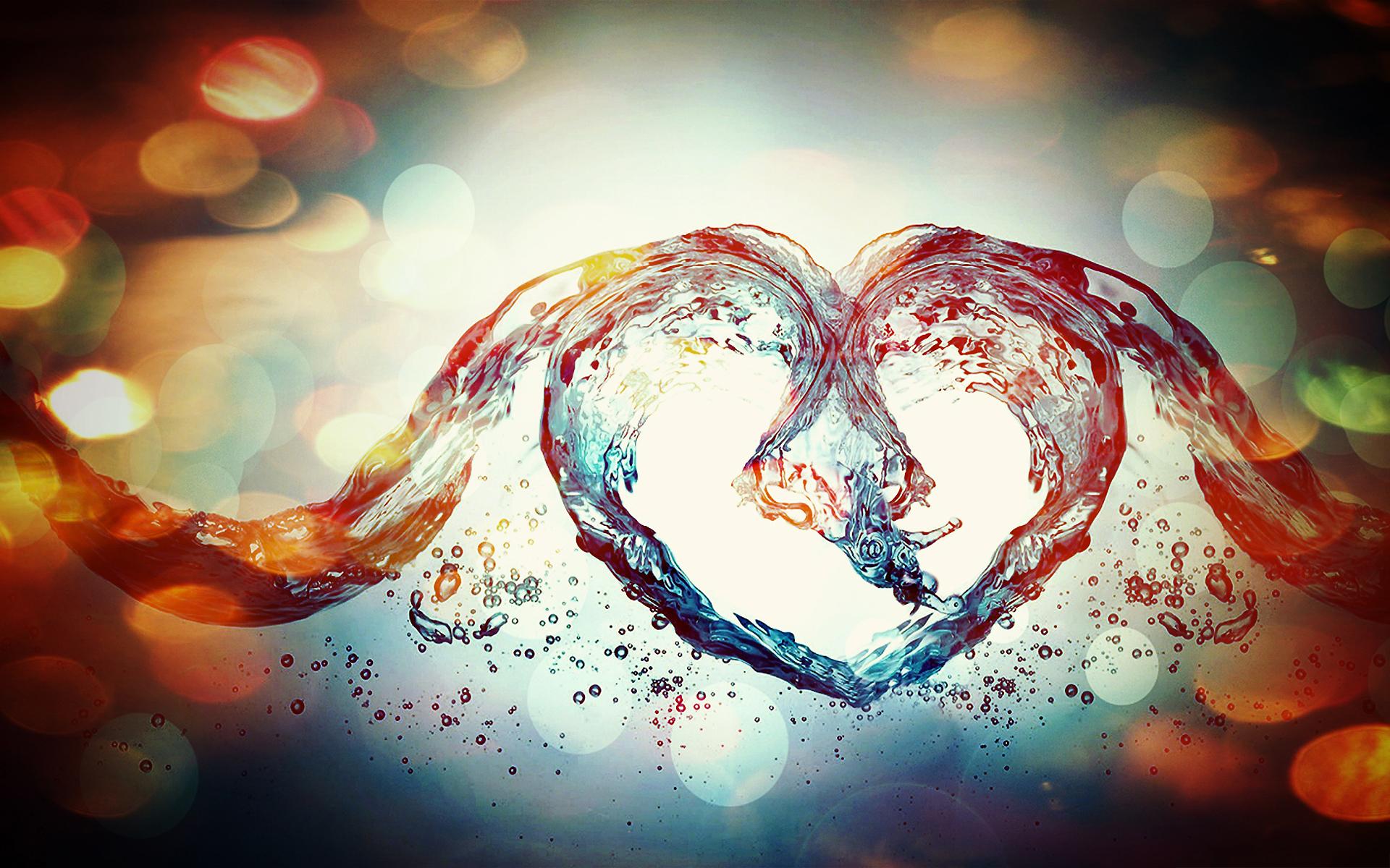 Water heart splash