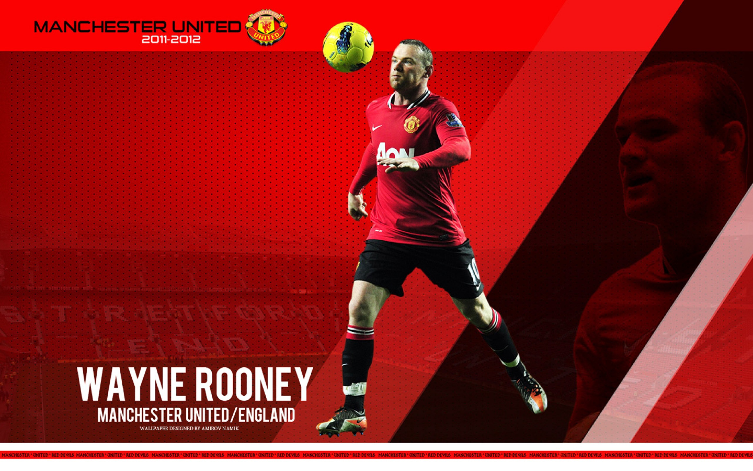 The player of Manchester United Wayne Rooney on the red background