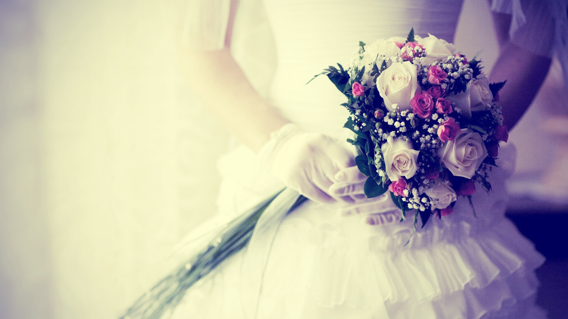 Preview wallpaper bride, bouquet, flowers, gloves, wedding 1920x1080