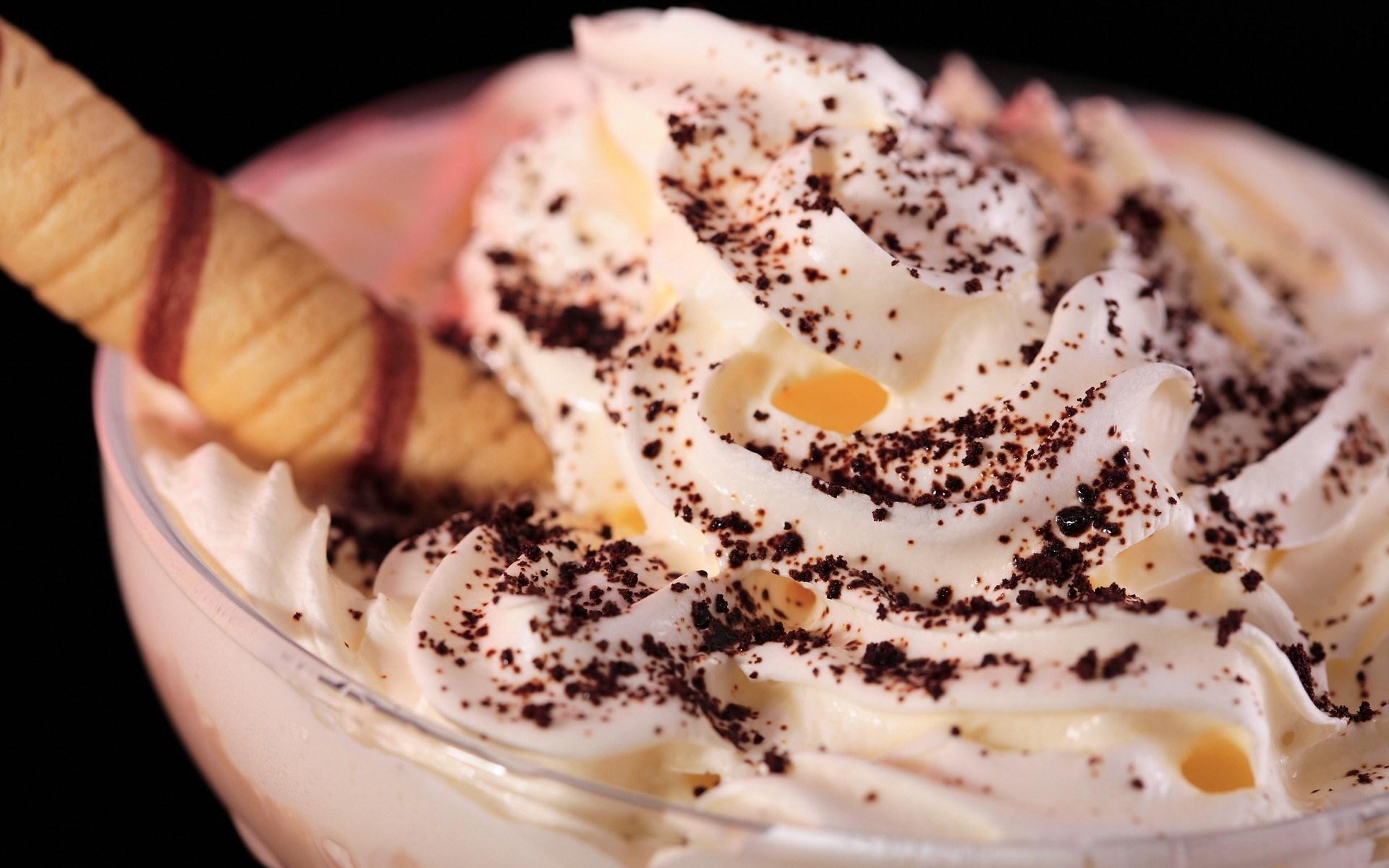 Whip Cream Macro Dessert Cacao Powder HD Wallpaper
