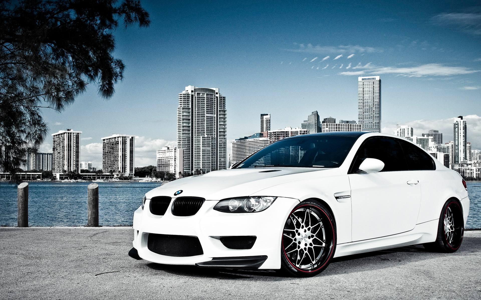 White BMW M3 Over Miami