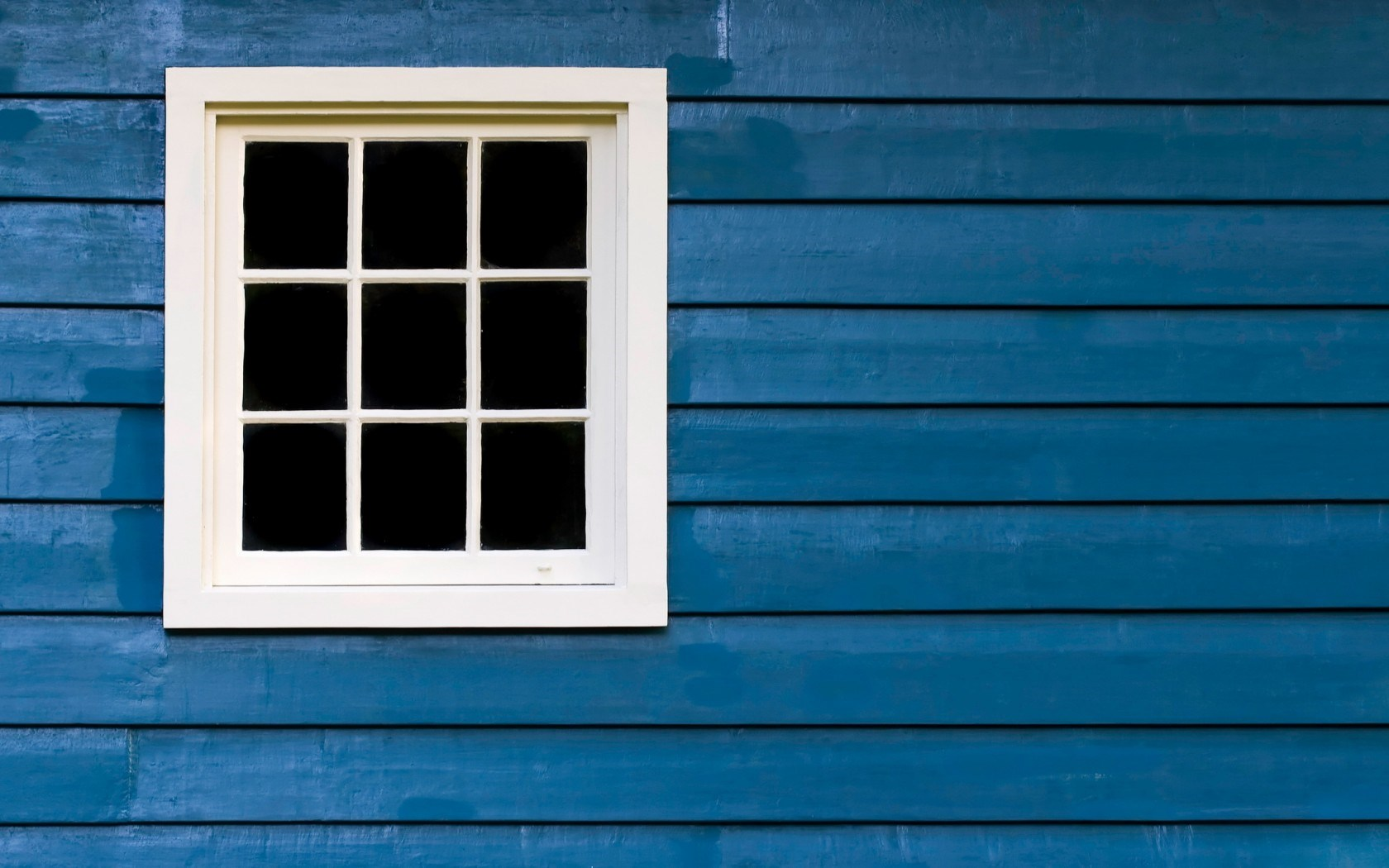 White Window Blue House Style
