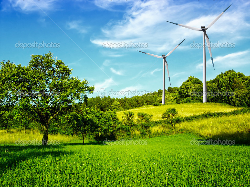 Windmill and beautiful summer landscape — Photo by WDGPhoto