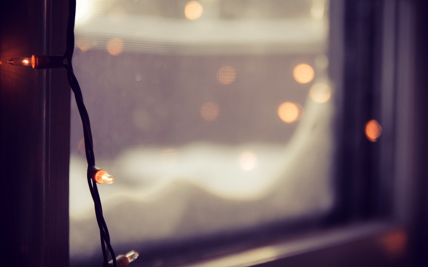Window Christmas Garland Lights Winter