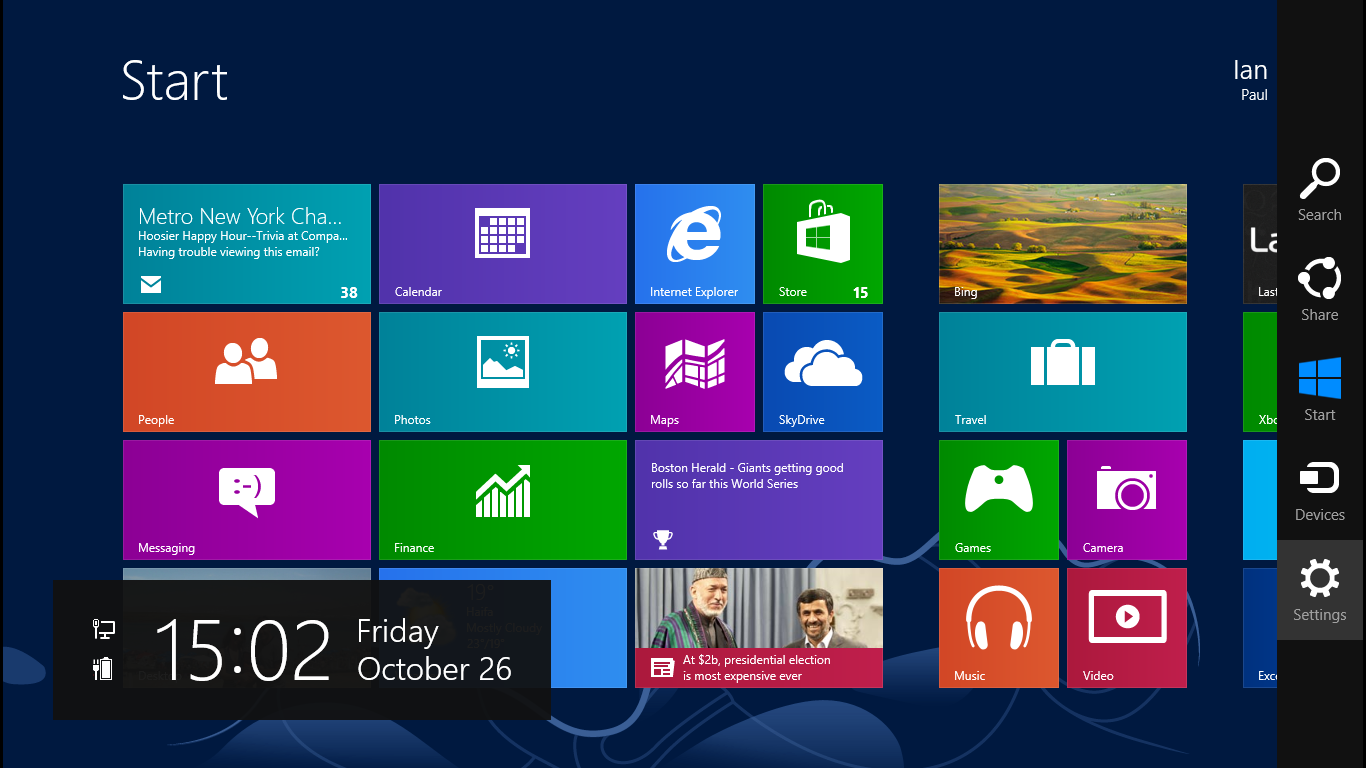 Conjure Windows 8 charms to easily search and share