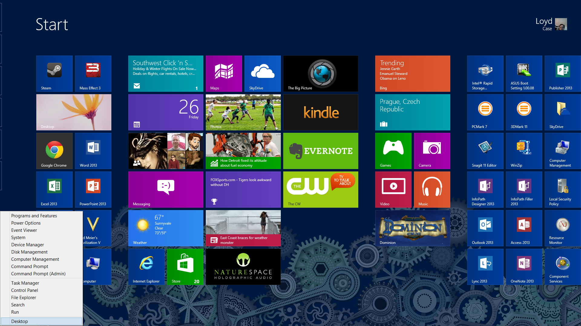 Loyd CaseThe Simple Start menu pops up a list of system tools wherever you are in Windows 8.