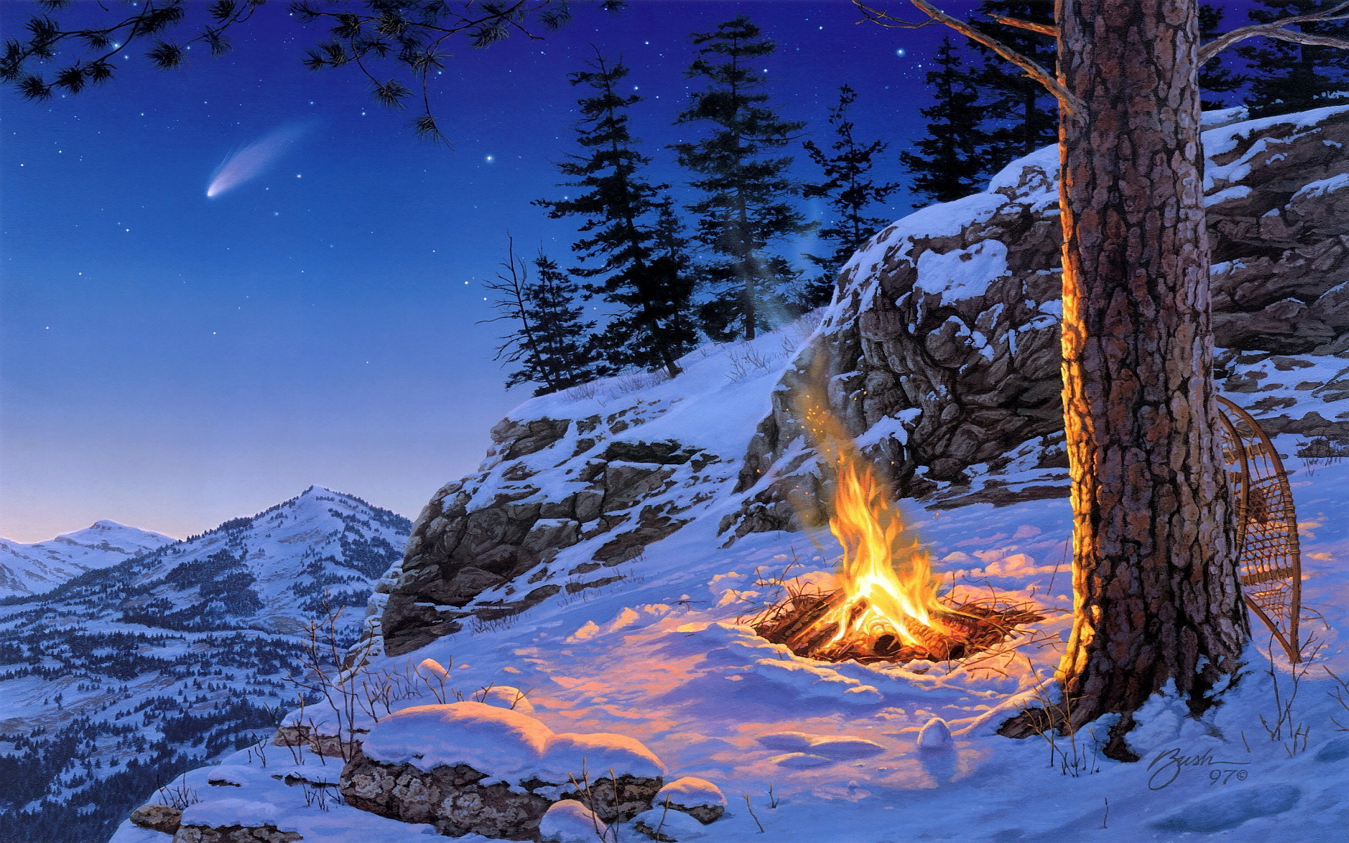 Winter campfire art