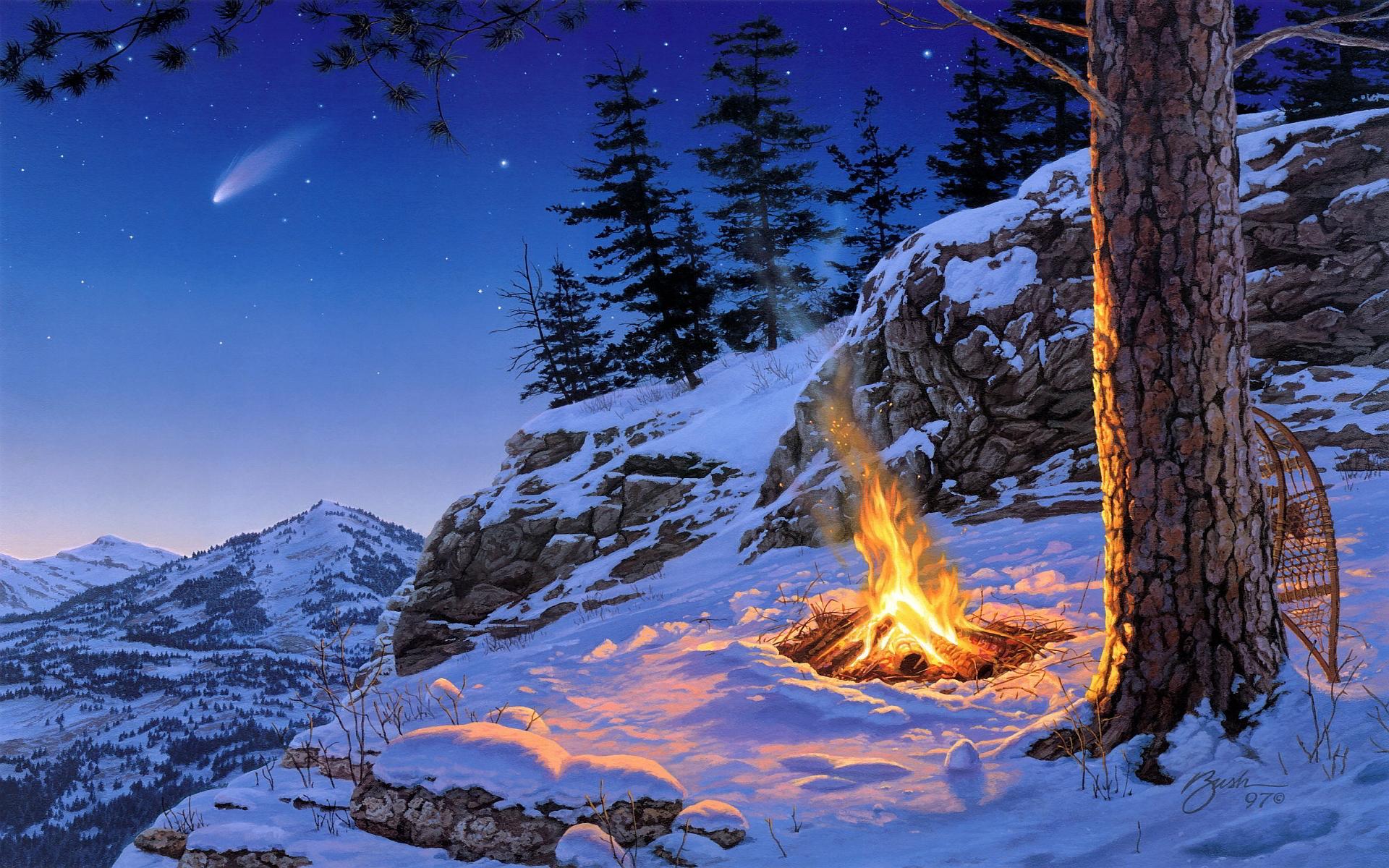 Winter campfire art