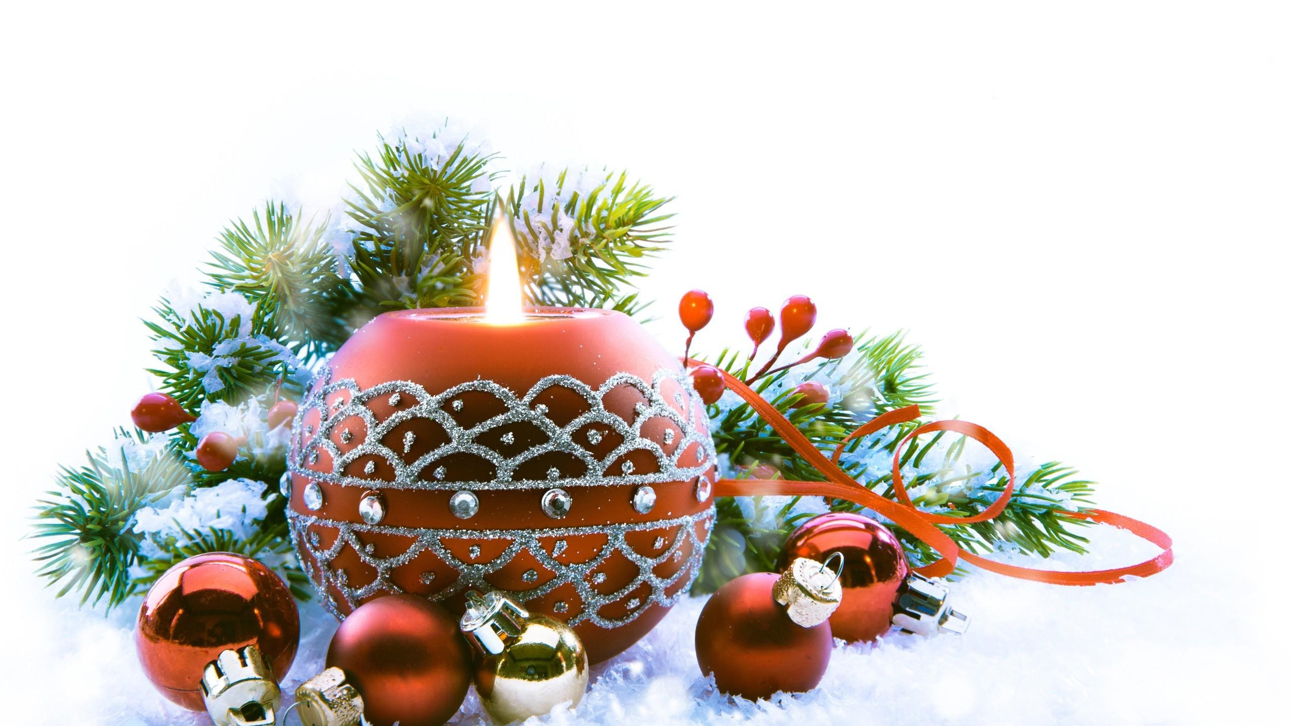 2560x1440 Wallpaper new year, christmas, candle, fire, needles, christmas decorations,