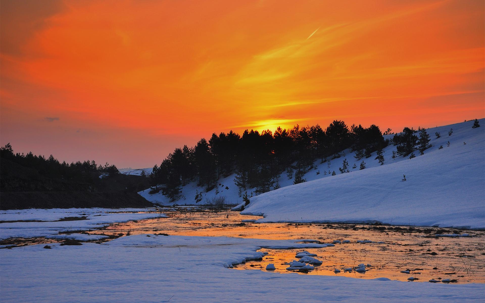 Winter creek sunset