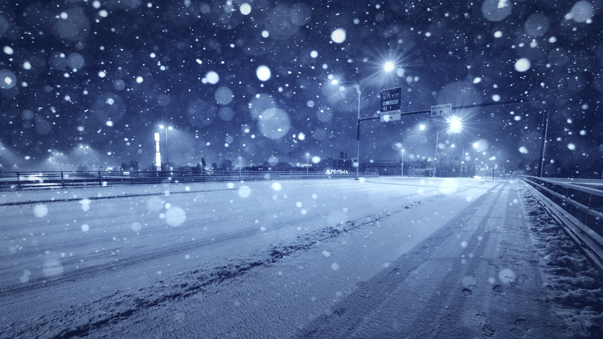 Winter Freeway Wallpaper